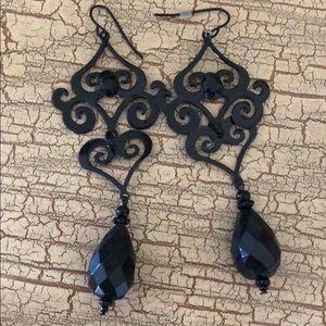 Black chandelier earrings.